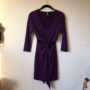 Nasty Gal Spandex Cut Out Purple Dress